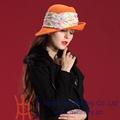 Sombrero de invierno personalizado, Sombrero de lana y fieltro para mujer, Sombrero Derby