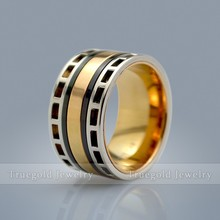 2015 New Hot Wide Black & Gold Color Engraved MEN Titanium Ring Wedding Rings Engagement Band Stainless Steel Ring