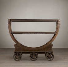 industrail vintage wheel recycled wood furniture console table