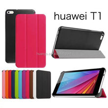 Mobile accessories stand leather ultra slim smart cover leather case wholesale for huawei mediapad t1 made in china
