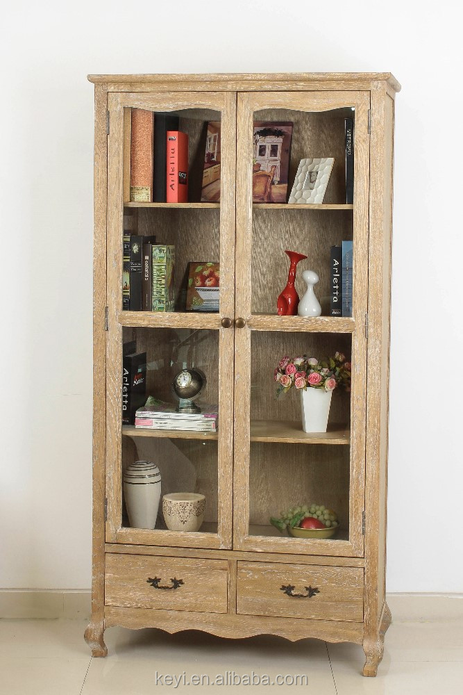 Living room showcase glass doors design cabinet wooden design display cabinet dt 1042 oak - Glass showcase designs for living room ...