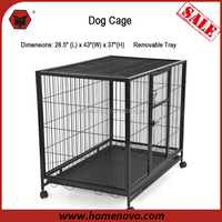 "High Quality 28.5""L x 43""W x 37""H Welded Mesh Wheels Large Heavy Duty Folding Dog Cage Crate"