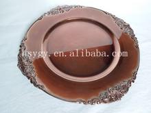 cheap wholesale Plastic Charger plates Events Decoration foil finish