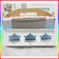 light blue 3 cupcakes paper packaging box with clear window