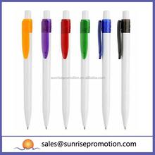 Plastic Clip Logo Imprint White Ballpoint Pen