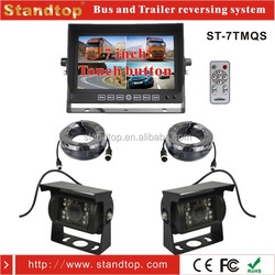 7 inch TFT LCD Quad Monitor Car Audio System with Two Reverse Camera For Long Vehicles