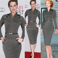 Stylish Winter Fall Women's Knit Bodycon Buttons Office Party Sexy Slit Midi Dress with Pocket H027