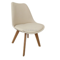 Luxury pu leather DSW chair and square wood legs leather chair
