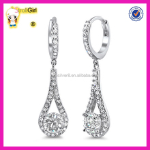 2015 Factory high quality hot sell lady AAA white zircon silver plated earrings
