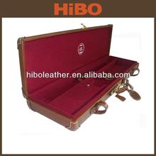 Factory promotion with ourter double strap break down shotgun genuine leather gun case