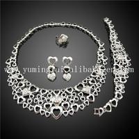 18k white gold full jewelry set dubai shaped in love heart jewelry, iran jewelry