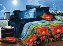 Brand new bed set Chinese supplier king size/queen size 3d flower printed bedding set