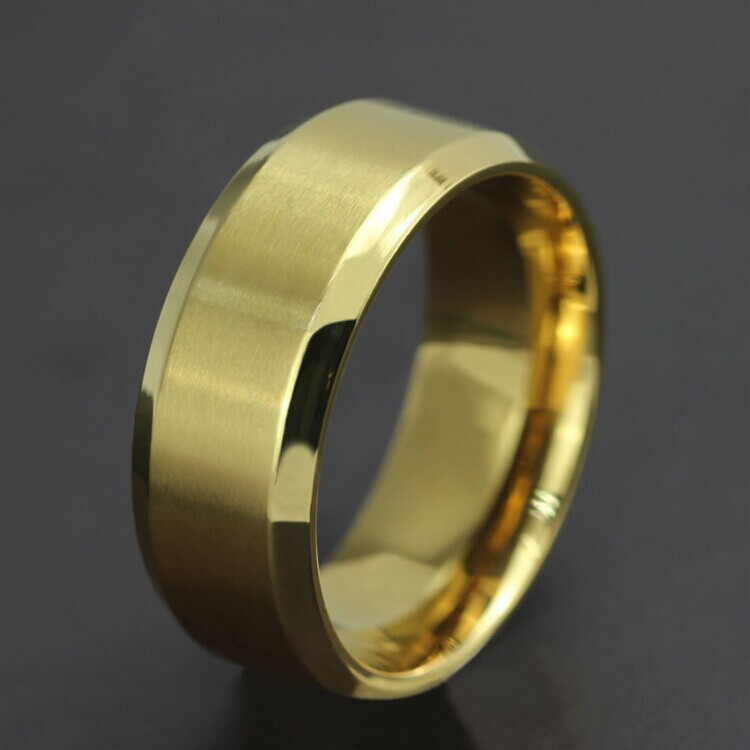 Wholesale Cool Simple Men Ring Black Gold Silver Stainless Steel ...