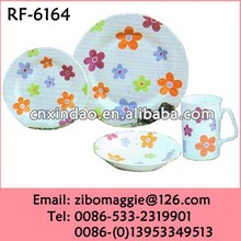 Professional Zibo Made Popular Round Ceramic Brand Names of Dinner Sets for Gift