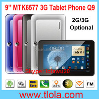 Wholesale MTK6577 Dual Core Android Tablet 9 inch GPS 3G Calling Phone Q9 (2G GSM Optional)