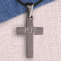 Simple Silver Personalized Cross Necklace