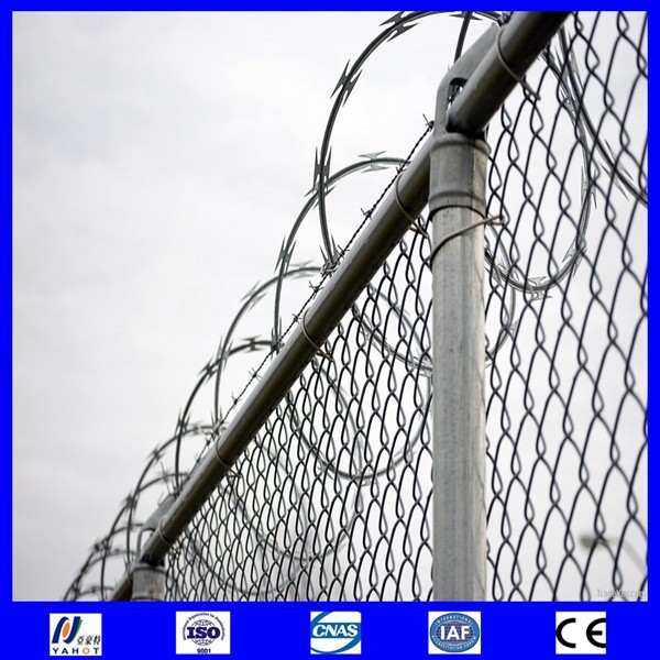 alibaba china chain link fence top barbed wire