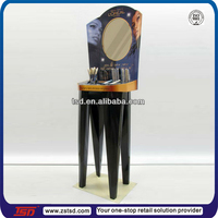In store cosmetic makeup cardboard floor display stand table/ Dressing table type corrugated stand for cosmetic