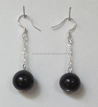 Ladies Accessories 2015 Fashion Wholesale Black Bead Drop Earrings