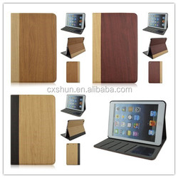 Wood Grain Flip Turn Stand PU Leather Tablet Case For iPad air 2, Covers For iPad mini 1/2/3 With Card Slot
