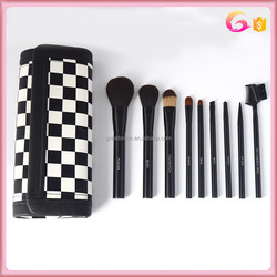 9pc nylon hair black makeup brush set with Black and white Grid Pattern Cosmetic Make Up long magnet Bag