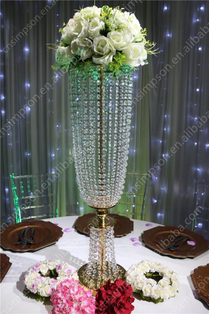H cm golden crystal flower stand centerpiece for wedding
