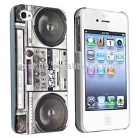 Snap-on Rubber Coated Case Compatible with Apple iPhone 5S/5C, New Cool Retro Old Player / Recorder Pattern