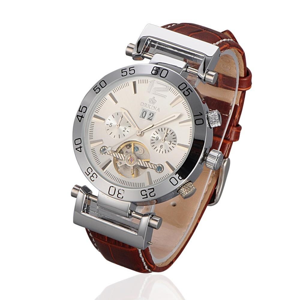 Механические часы из нержавеющей стали женские мужские бизнес наручные часы ORKINA стильные повседневные часы под платье