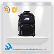 China supplier 600D black backpack with many pockets for teens