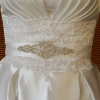 Rhinestone Embellishment Elegant wedding decorative bridal appliques sash design for evening dress RA347