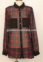 ladies fashionable woven chiffon check shirt,women check shirt