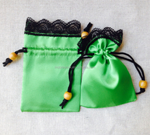 6 color available stock satin gift bag with lace top and beads decorated