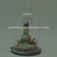 Antiue decorative glass dome for Easter with bunny & egg