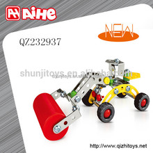 Metal road roller toy, construction truck toy, building block for children