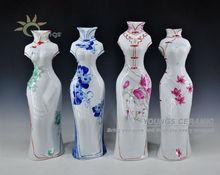 Wonderful jingdezhen hand painted beauty women shaped art porcelain vases for cheap whoesale