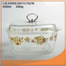 Clear good clear square 4600ml tempered glass pot with nice design gold with FDA report