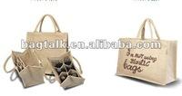 Promotional Foldable Wine Bag Organiser Jute Tote Bags Wholesale