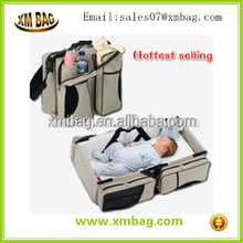 2015 China supplier 2 in 1outdoor portable folding children infant baby crib cot travel mummy bed diaper bags for traveling