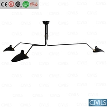 Serge Mouille three curved arms ceiling lamp, Serge Mouille chandelier