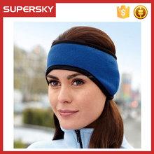 A-762-2 Sports Fleece Earlap Headband With Stretch Binding Fleece Adjustable Headband Polar Fleece Velcro Headband Earmuffs