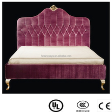 2015 Latest luxury Rococo solid wood pink color double bed