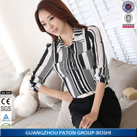 Wholesale 2015 new design fashion ladies office long sleeve stripe shirts