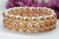 100% Real Freshwater Pearl Bracelets & Bangles Double Row Bracelet Free Shipping