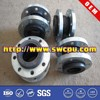 Single sphere flexible rubber bellow connector with flange end