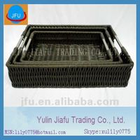 2012 hot sale rectangle manual woven black wholesale PE Rattan storage gabion basket