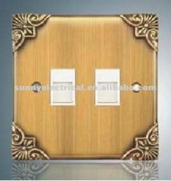 british style double tel metal clad socket