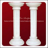 Outdoor White Customized Stone Driveway Pillars