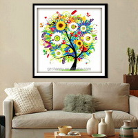 Brand New Wholesale DIY Handmade Needlework Counted Colorful Tree Cross Stitch Set Embroidery Kit DIY Home Decor 45*45cm