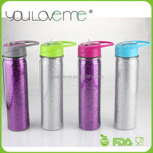 popular product wholesale top quality glitter insert double wall plastic water bottle shaker bottle