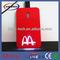 Promotion gifts credit card optical LED Flat Mouse with light &mini retractable wire